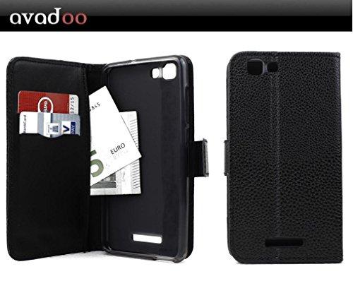 avadoo® Mobistel Cynus F10 Flip Leder Hülle in Schwarz mit Magnetverschluss & Dualnaht (Außenseite vernäht) Hülle Cover Tasche