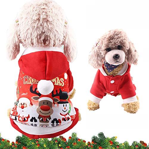WELLXUNK® Disfraz de Perro de Navidad, Ropa Mascotas con Capucha para, Adornos de Navidad para Mascotas, Lindo Trajes de Navidad, Otoño Invierno Mascota Ropa para, Christmas Pet Traje Fiesta (M)
