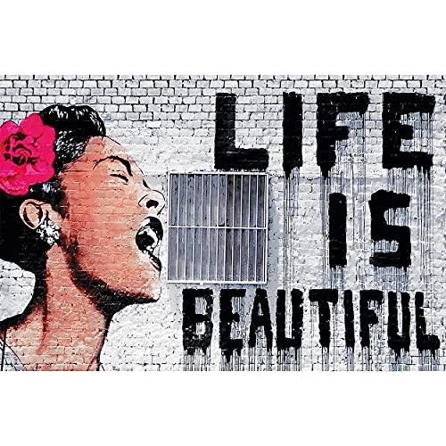 GREAT ART® Mural de Pared – Banksy Graffiti Life Is Beautiful – Mural Estilo Urbano Pop Art Arte Callejero Stencil Plantilla Artista Foto Papel Tapiz y decoración (210 x 140 cm)