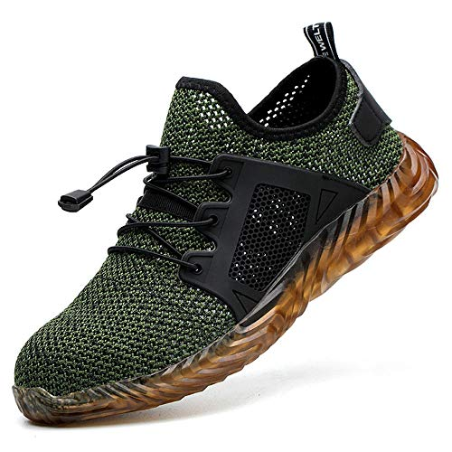 ESDY Steel Toe Sneakers for Men Safety Shoes Work Lightweight Breathable Industrial Construction Shoes Non Slip Puncture Proof Footwear 703 Green US10/EU44