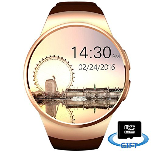 Smartlife Bluetooth Wrist Smart Watches with Camera Heart Rate Support SIM TF Card for iOS iPhone Android Samsung Sony LG Smart Phones (Gold)