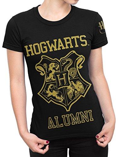 Camiseta de Hogwarts para Dama. Con un bonito diseño en dorado del emblema de Hogwarts y las palabras 'Hogwarts Alumni', nadie pensará que eres Muggle! Un regalo perfecto para los seguidores de la serie de Harry Potter. Este guay top es ideal para us...