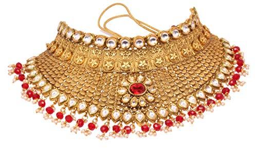 Bollywood Fashion vergoldet Kundan Stein Halskette Ohrringe Brautschmuck Set indischen Hochzeit tragen Schmuck