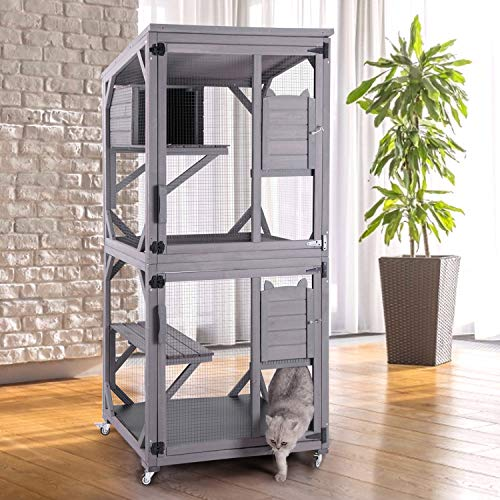 GUTINNEEN Cat House Outdoor Cage Large Catio Cat Enclosure with Window,Wooden Kitty Playpen Improve Reinforcement Strip Outside Kennel on Wheels,PVC Layer (Gray)