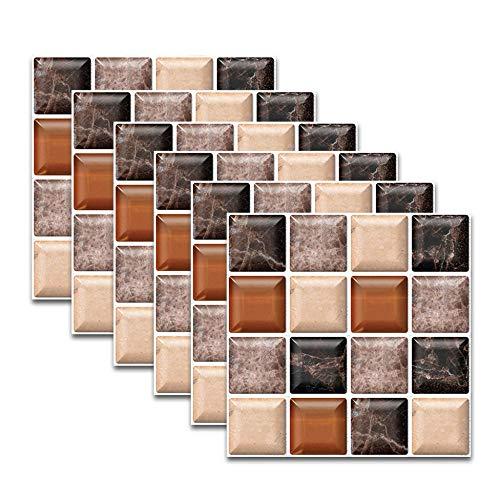 QAZN 30 PCS 8x8in / 20x20cm Adhesivo Autoadhesivo para Azulejos para Cocina Baño Splashback Papel de Contacto Pelar y Pegar Adhesivo Decorativo para Azulejos de Pared-Mosaico Negro marrón