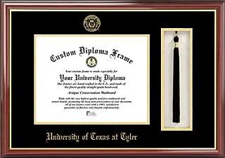 Laminated Visuals University of Texas at Tyler Patriots - Embossed Seal - Tassel Box - Mahogany - Diploma Frame