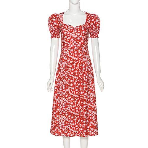 IHCIAIX Kleid,Frauen Romantisches Retro-Kleid, Midi-Kleider mit Rüschen-Puffärmeln, geteiltes Sommerkleid mit Blumendruck und quadratischem Kragen, rot, M.