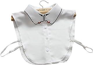 Joyci Creative Embroidery Lady Spring Chiffon False Collar Shirt Fake Dickie White