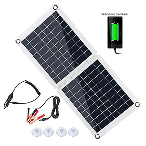 InLoveArts Cargador solar plegable, paneles solares de celdas de polietileno de 60 W, resistente al agua, portátil, USB, al aire libre, cargador de panel solar para computadora portátil, tableta
