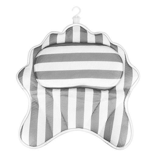 Powcan Almohada De Bañera, Reposacabezas Bañera con Ventosas Cojín para Bañera Ergonómico para Cuello Cabeza Hombro de Malla 3D Cojín Reposacabezas para Bañera Jacuzzi SPA e Hidromasajes