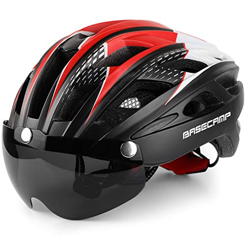 Bike Helmet, Basecamp Bicycle Helmet Cycling/Climbing Helmet with Detachable Magnetic Goggles Visor&Led Back Light&Portable Backpack Adjustable for Men Women Mountain Road Bc-069