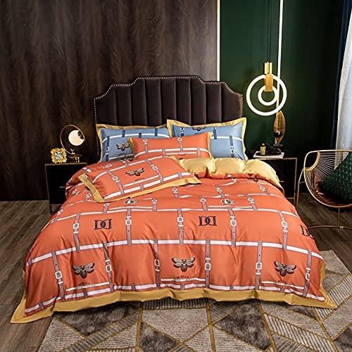 funda de edredón 90,Lavar el conjunto de cuatro piezas de seda, cómoda sedosa cama de verano reversible de una sola almohada de la cama de la almohada Suministros de cama regalo-PAG_Cama de 2.0 m (4