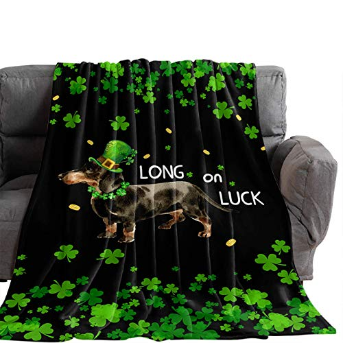 Manta Para Blanket Día de San Patricio Sombreros de duende Perro Súper suave y acogedora Manta cálida para el hogar Sofá Sofá Cama Silla Hoja verde Mantas Para 60'x50'