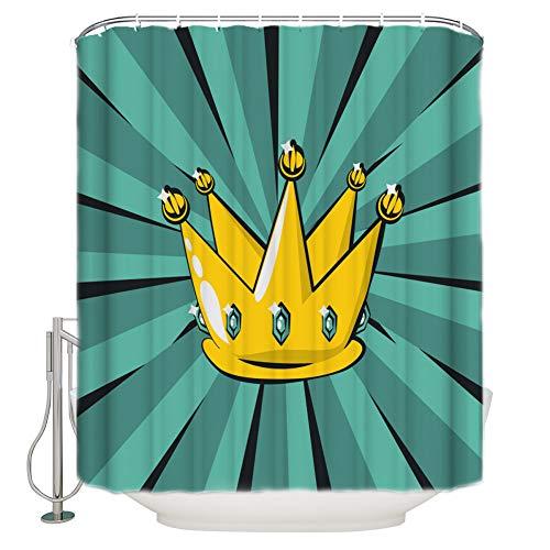 AYogg Duschvorhang Duschvorhang Krone Gelb Cyan Radial Duschvorhang Badezimmer Vorhang Home Decoration