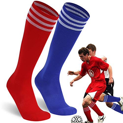 Casual Dress Tube Socks, Ristake Solid High Performance Knee-High Soccer Baseball Triple Stripes Socks for Men and Women 2 Pairs Blue & Red XL