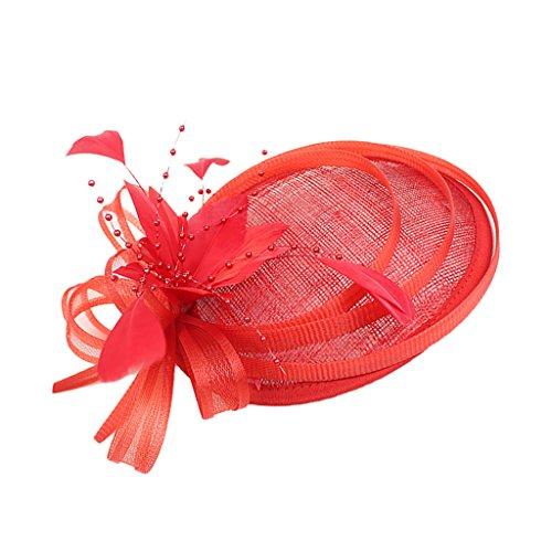 sharprepublic Vintage Feather Fascinator 20s Great Charleston Party Headdress - Rouge