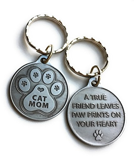 Cat Mom - A True Friend Leaves Paw Prints On Your Heart Keychain Pewter Color