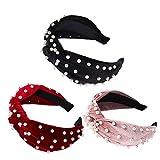 Gobesty Diademas anchas de perlas, 3 piezas Diadema de terciopelo con nudo de perlas Mujeres Niñas Head Hoop Headwear Diadema para boda, Negro Rojo y Rosa oscuro