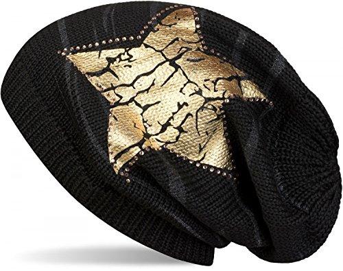 styleBREAKER cuffia beanie in maglia con stampa vintage con stella, cuffia in maglia con motivo a righe, unisex 04024083, colore:Nero/Oro