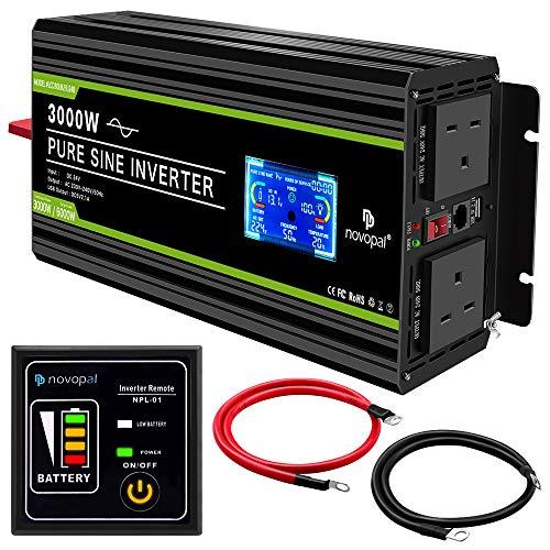 Novopal 3000 Watt Pure Sine Wave Inverter 24V to 230V 240V Car Converter Power Inverterv with Lcd...