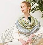 ZWQ Twill 100% Seide quadratische Damenschal Schals 106 * 106 cm Bedruckte Schals,B -