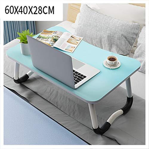 LLEH Escritorio para Laptop, Mesa Plegable para computadora portátil Mesa de Cama portátil Desayuno Bandeja de Cama para Servir con pies Antideslizantes, para Trabajo de Estudio y Lectura,Azul