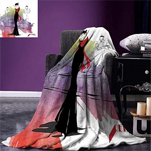 LILANG Manta cálida para niñas Manta para niñas con mantón Rojo en la Calle con linternas Tendencias de los Sesenta Estilo Retro 100x150cm