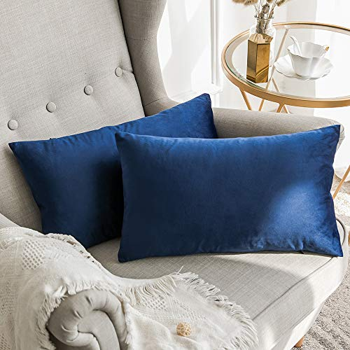 MIULEE Terciopelo Funda de Cojine Funda de Almohada del Sofá Throw Cojín Decoración Almohada Caso de la Cubierta Decorativo para Sala de Estar 30x 50cm 12 x 20 Pulgadas 2 Pieza Azul Oscuro