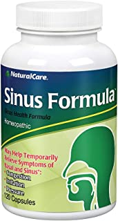 NaturalCare Sinus Formula   Homeopathic Support for the Temporary Relief of Sinus Congestion and Pressure   120 Capsules