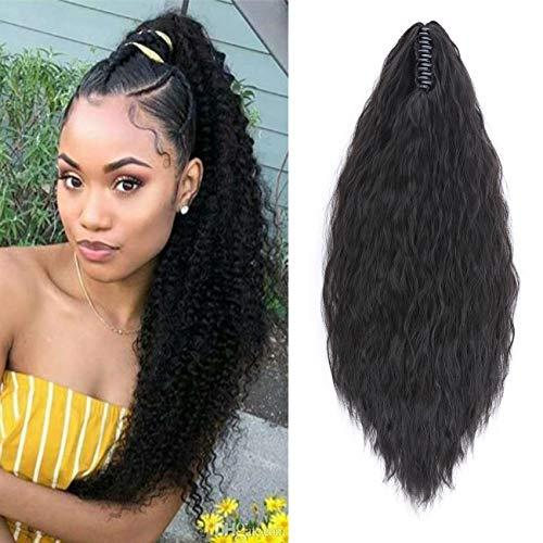 """Ponytail Extension Pferdeschwanz Zopf Corn Wavy Haarteil Haarverlängerung Hair Piece Haar mit Klammer wie Echthaar 24""""(61cm) Schwarz"""