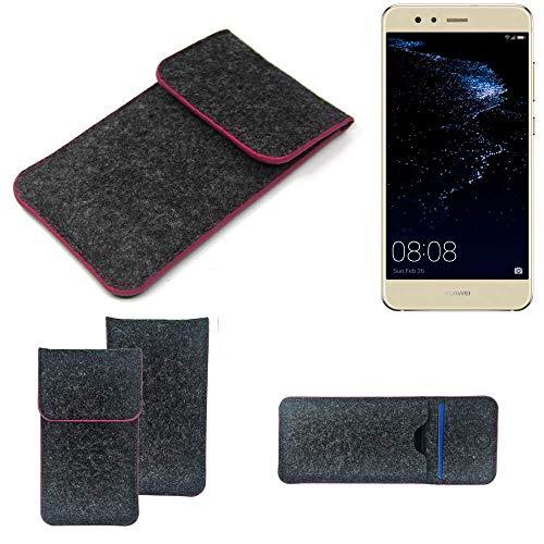 K-S-Trade Filz Schutz Hülle Für Huawei P10 Lite Dual-SIM Schutzhülle Filztasche Pouch Tasche Hülle Sleeve Handyhülle Filzhülle Dunkelgrau Rosa Rand