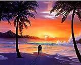 Pintura por números puesta de sol paisaje DIY pintura por número kits de pintura de lienzo para adultos figura decoración del hogar A14 45x60cm