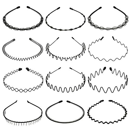FRIUSATE 12 Stck Metall Haarband Metall Stirnband Haarbnder Haarreifen Haarschmuck Stirnband Unisex Schwarz Wave Haarband Fr Mnner Frauen