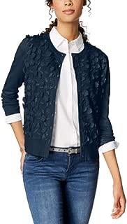 Charter Club Long-Sleeve Floral-Appliqué Cardigan