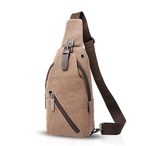 FANDARE Vintage Rucksack Sling Bag Umhängetasche Messenger Tasche Schultertasche Reisen Crossbady Bag Sporttasche Frauen/Herren Segeltuch Khaki