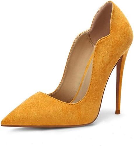 Hysxm Chaussures à Talons pour Femmes, Chaussures De De De Mariage, Sexy Plus Taille Party Flock, Chaussures à Talons, Bout Pointu, Jaune de2