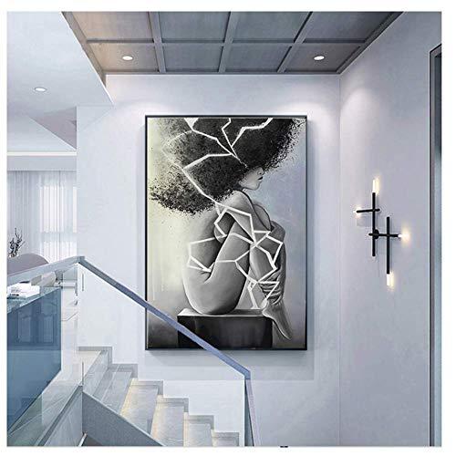 African American Women Letter Art Hair Print Canvas Wall Art Bedroom Home Decor Decal