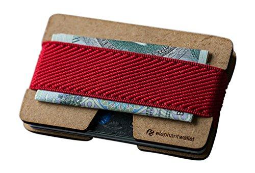 Elephant Wallet N Mini Geldbörse Kleines Portemonnaie Small Portmonee Minimalisten Kartenhalter präsentiert von becoda24 in versch. Farben (Wood - Rot)