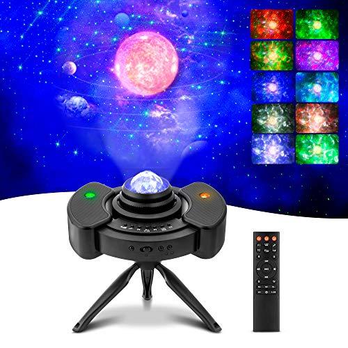 Lampe Projecteur LED Étoile, Bluetooth Projecteur Galaxie, Enfant Veilleuse de Rotatif 10 Modes Couleurs pour Décoration des Chambres/Fête/Cadeau de La Saint-Valentin