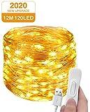 Lichterkette USB, Litogo 12M 120LED Lichterkette Draht Wasserdicht mit Schalter Fairy Lights...