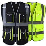 JKSafety 10 Multiple Pockets Black Vest and Classic Hi-Vis Neon Yellow Reflective Safety Vest (Size X-Large)