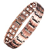 Feraco Men's Copper Magnetic Bracelet for Arthritis Pain Relief Elegant 99.99% Solid Copper Bracelets with Double-Row Strong Magnets