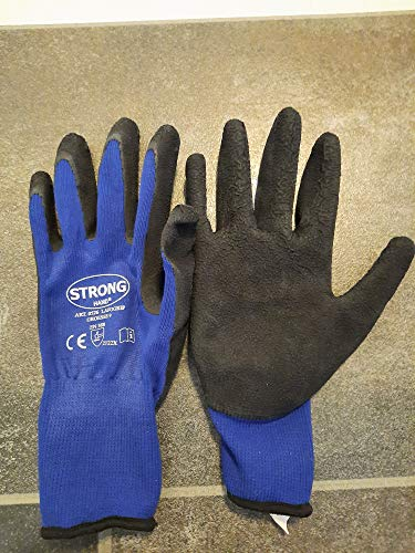 6 Paar Schwarze Arbeitshandschuhe LAFOGRIP Stronghand mit Grip Latexhandschuhe Gr. 8-11 Plus 1 Paar Gehörschutzstöpsel von 3M //Ideal für Werkstatt und Garten (9/L)
