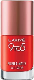 Lakme 9 to 5 Primer and Matte Nail Color, Crimson, 9ml
