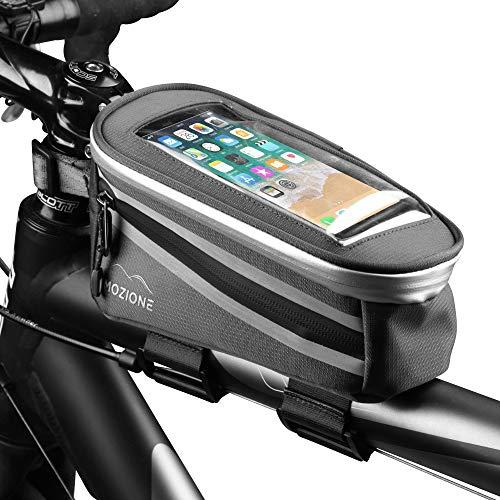 Mozione® Fahrrad Rahmentasche | Praktisch & Kompakt mit 2 Separaten Fächern | Fahrradtasche für Smartphones bis 5,5