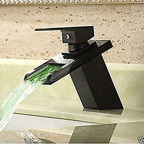 Accesorios de baño Grifo del lavabo Grifo del fregadero del baño Grifos de baño Cascada bronce aceitado centrado un agujero sola manija un agujero baño grifos del fregadero del baño