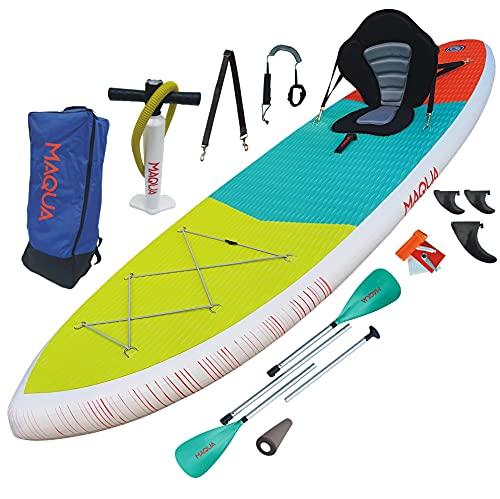 MAQUA Stående paddelbräda paddel SUP bräda uppblåsbar kajak SUP tillbehör uppblåsbara paddelbrädor för vuxna stående paddleboarding paddel bräda väska 320 x 84 x 15 140 kg (KAYAK)