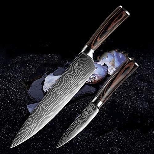 2 piezas de cuchillos de cocina japoneses establecen Damasco cocinero de acero patrón de juegos de cuchillas de pelado de herramientas de utilidad Cleaver Santoku rebana