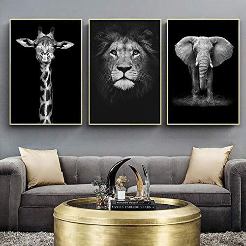 UIGJIOG 3 Piezas Cuadro sobre Lienzo Pintura Elefante León Jirafa Negro Blanco Animal Arte impresión Cartel Imagen Pared decoración nórdica,50x70cm No Frame