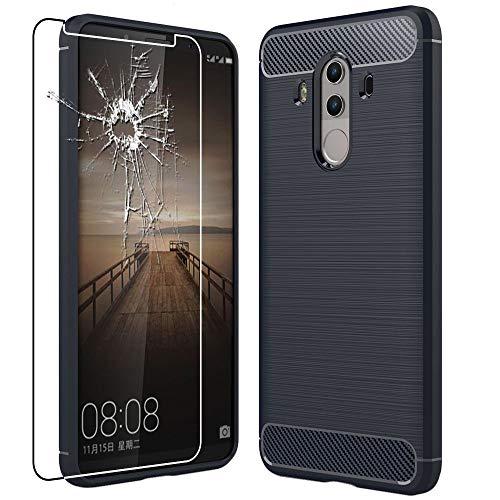 ebestStar - Cover Compatibile con Huawei Mate 10 PRO 2017 Custodia Protezione Silicone Gel Fibra di Carbonio Anti Scivolo, Blu Scuro + Vetro Temperato [Apparecchio: 154.2 x 74.5 x 7.9mm, 6.0'']